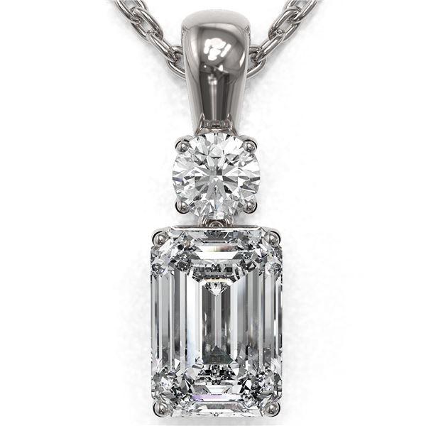 0.9 ctw Emerald Cut Diamond Designer Necklace 18K White Gold - REF-191K8Y
