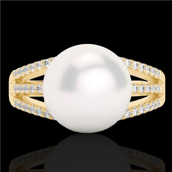 0.30 ctw Micro Pave VS/SI Diamond & Pearl Designer Ring 18k Yellow Gold - REF-39X3A