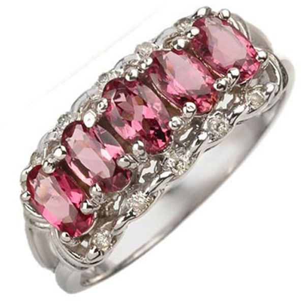 1.15 ctw Pink Tourmaline & Diamond Ring 10k White Gold - REF-18G4W