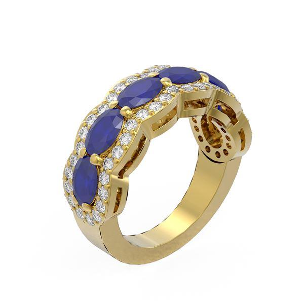 5.03 ctw Sapphire & Diamond Ring 18K Yellow Gold - REF-133A5N