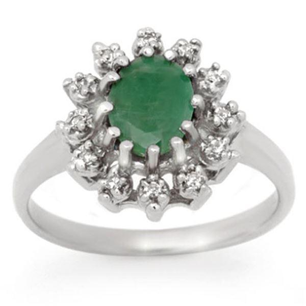 1.46 ctw Emerald & Diamond Ring 10k White Gold - REF-23G9W