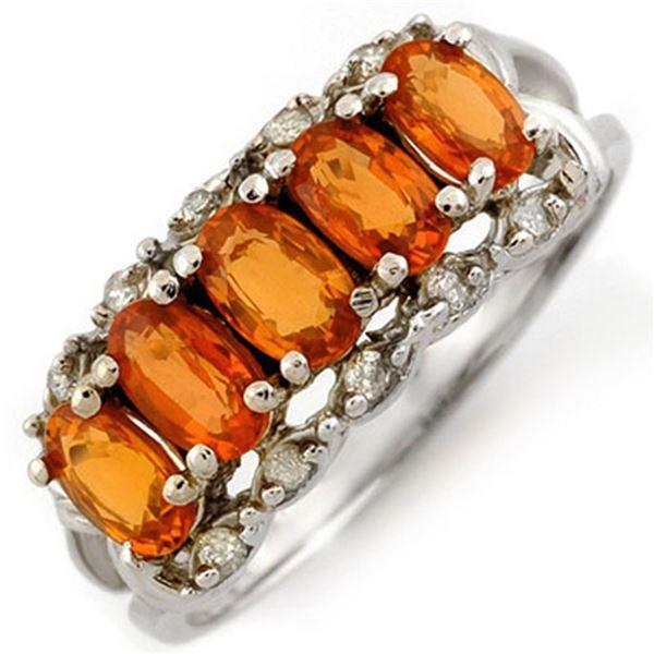 1.80 ctw Orange Sapphire & Diamond Ring 10k White Gold - REF-20W8H