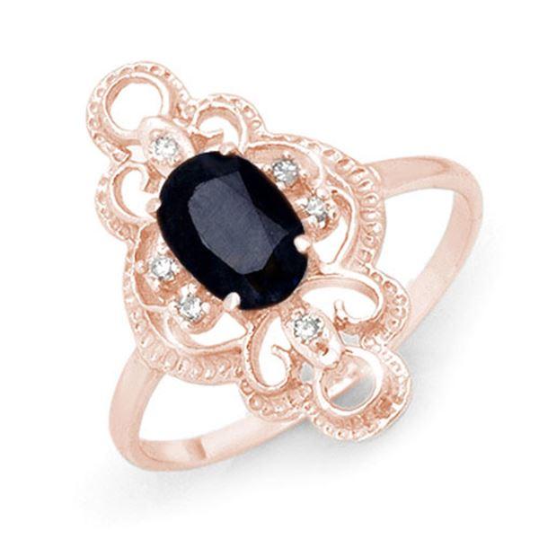 1.10 ctw Blue Sapphire & Diamond Ring 10k Rose Gold - REF-19Y3X