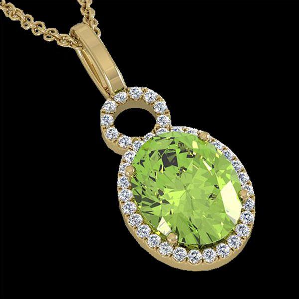 3 ctw Peridot & Micro Pave Halo VS/SI Diamond Necklace 14k Yellow Gold - REF-41M6G