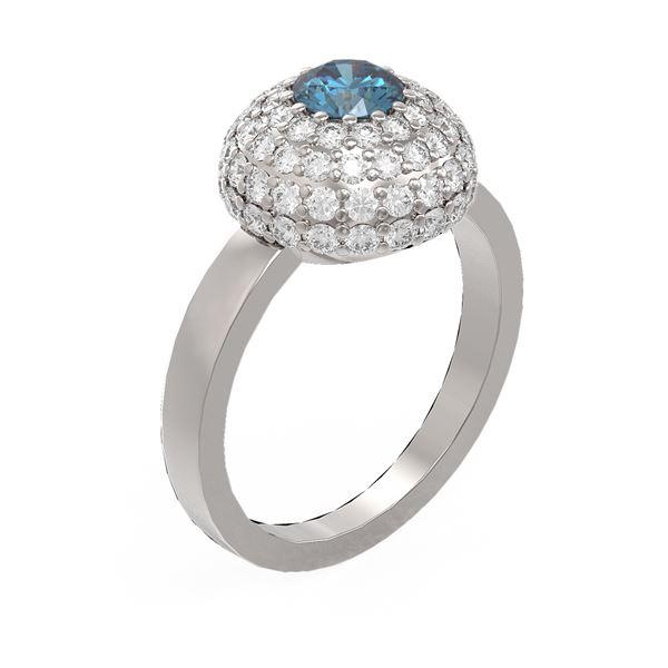 2 ctw Intense Blue Diamond Ring 18K White Gold - REF-194K2Y