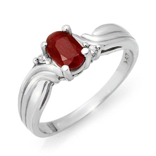 0.85 ctw Ruby & Diamond Ring 10k White Gold - REF-13R2K