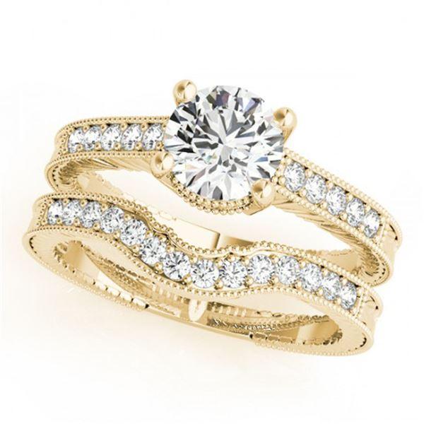 0.88 ctw Certified VS/SI Diamond 2pc Wedding Set Antique 14k Yellow Gold - REF-114N5F
