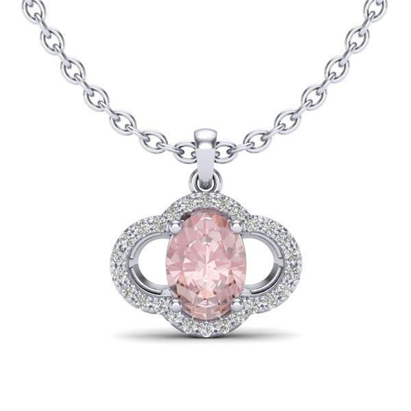 1.75 ctw Morganite & Micro Pave VS/SI Diamond Necklace 10k White Gold - REF-34W2H