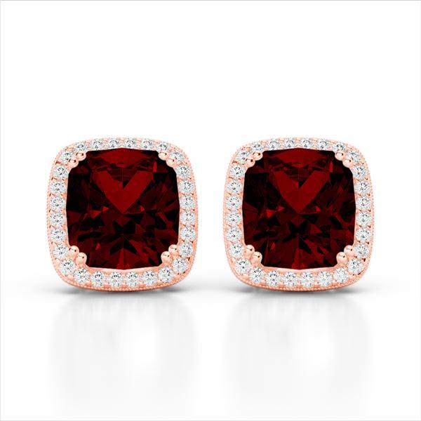 6 ctw Garnet & Micro Pave VS/SI Diamond Halo Earrings 14k Rose Gold - REF-50F8M