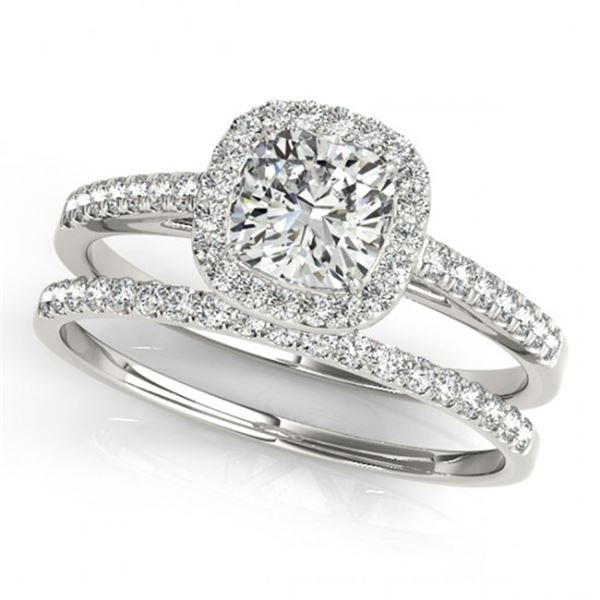 0.93 ctw Certified VS/SI Cushion Diamond 2pc Set Halo 14k White Gold - REF-106F5M