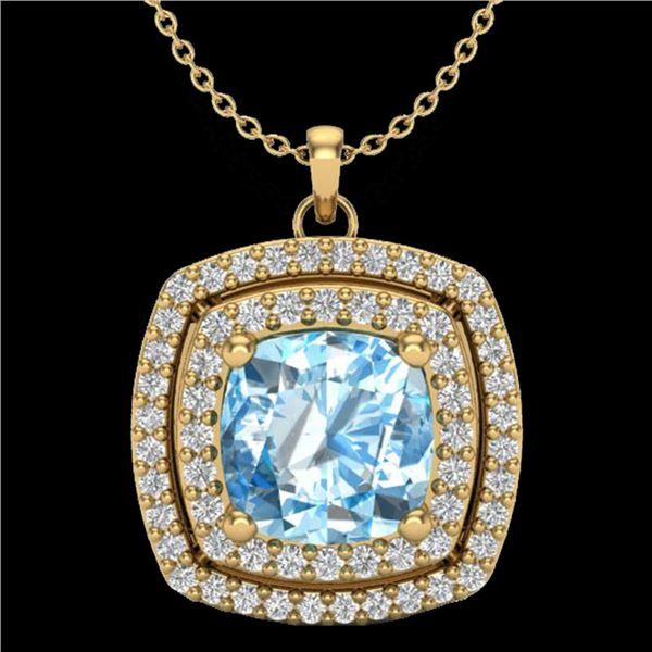 2.08 ctw Sky Blue Topaz & Micro Pave Diamond Necklace 18k Yellow Gold - REF-51A4N