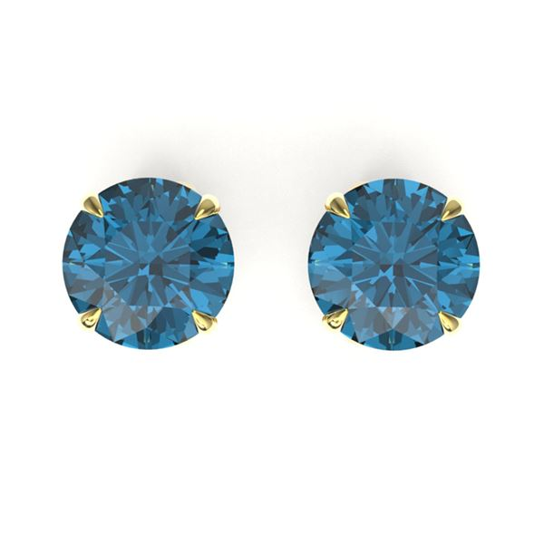 4 ctw London Blue Topaz Designer Stud Earrings 18k Yellow Gold - REF-22H5R