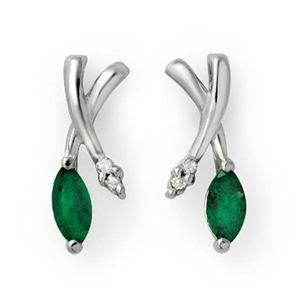 0.50 ctw Emerald & Diamond Earrings 14k White Gold - REF-17H6R