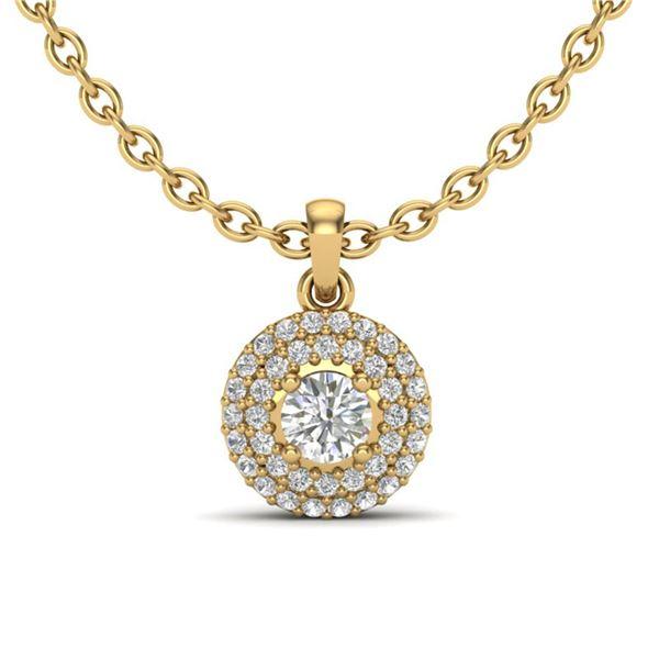 0.60 ctw Micro Pave VS/SI Diamond Designer Necklace 18k Yellow Gold - REF-55A2N