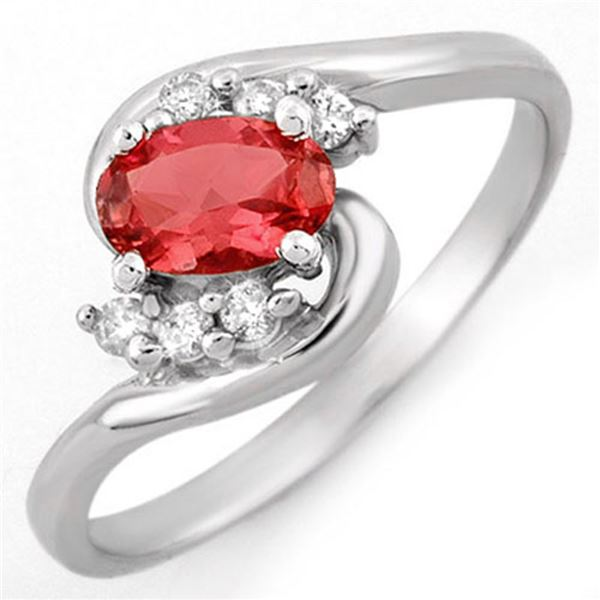 0.50 ctw Pink Tourmaline & Diamond Ring 18k White Gold - REF-24N3F
