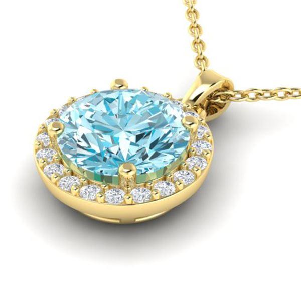 2 ctw Sky Topaz & VS/SI Diamond Micro Pave Necklace 18k Yellow Gold - REF-30M8G