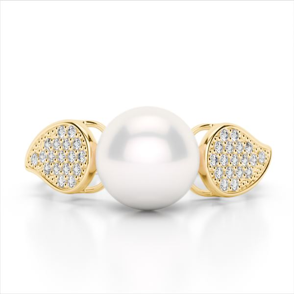0.27 ctw Micro Pave VS/SI Diamond & Pearl Designer Ring 18k Yellow Gold - REF-38K2Y
