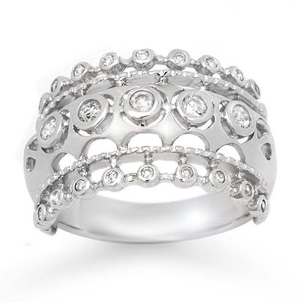 0.83 ctw Certified Diamond Ring 14k White Gold - REF-87M3G