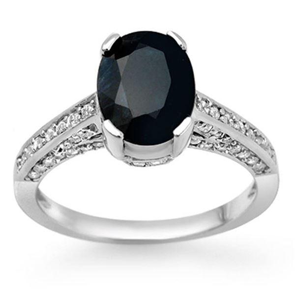 3.50 ctw Blue Sapphire & Diamond Ring 14k White Gold - REF-47M9G