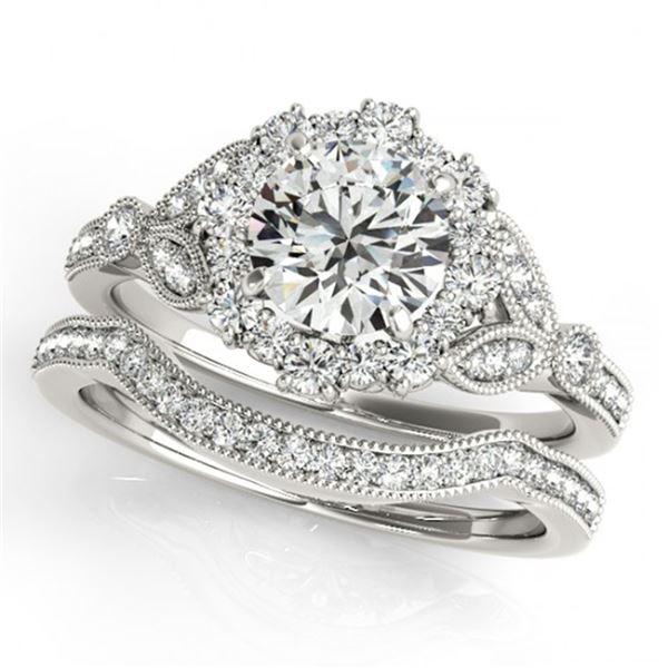 1.19 ctw Certified VS/SI Diamond 2pc Wedding Set Halo 14k White Gold - REF-113X9A