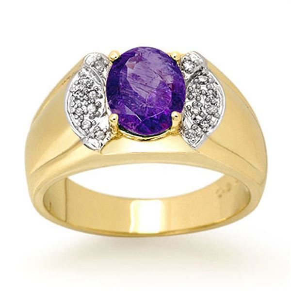 2.65 ctw Tanzanite & Diamond Men's Ring 10k Yellow Gold - REF-54W5H