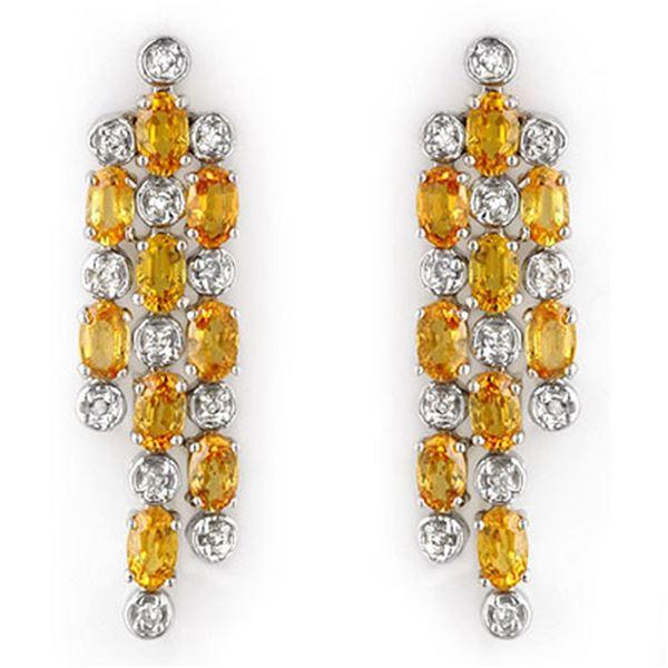 6.33 ctw Yellow Sapphire & Diamond Earrings 14k White Gold - REF-90N8F