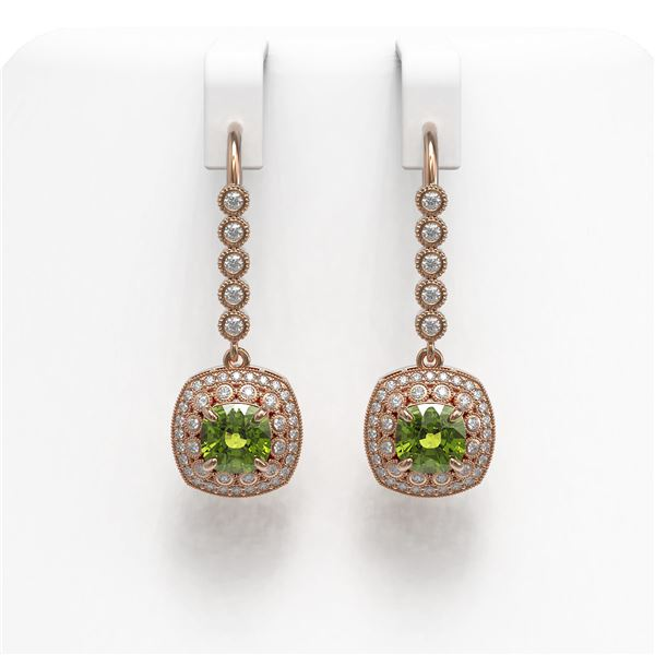 4.5 ctw Tourmaline & Diamond Victorian Earrings 14K Rose Gold - REF-172N8F