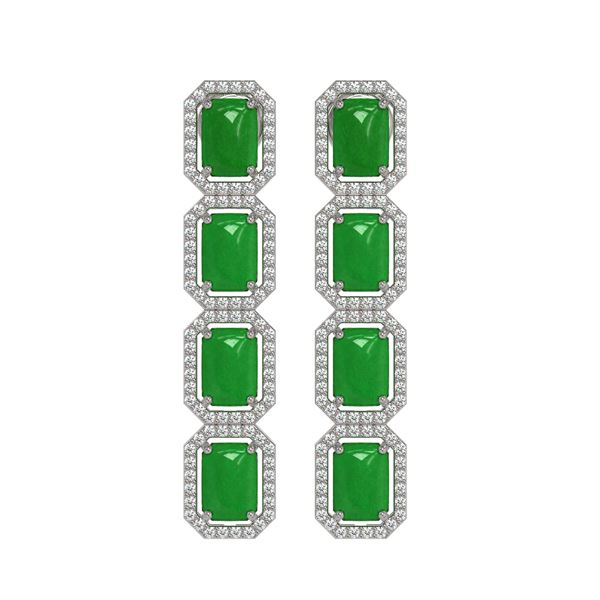 11.93 ctw Jade & Diamond Micro Pave Halo Earrings 10k White Gold - REF-146G4W