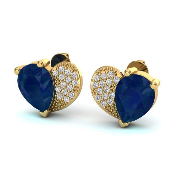 2.50 ctw Sapphire & Micro Pave VS/SI Diamond Earrings 10k Yellow Gold - REF-23R9K