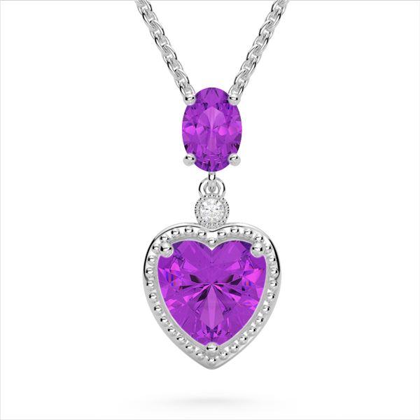 4 ctw Amethyst & VS/SI Diamond Designer Heart Necklace 10k White Gold - REF-21A3N