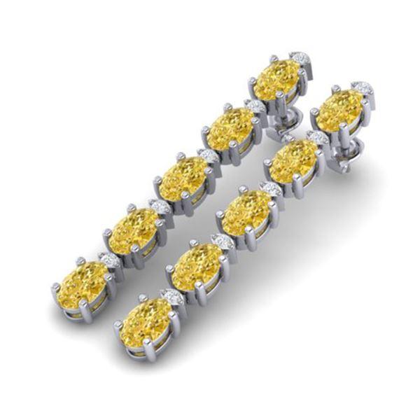 15.47 ctw Citrine & VS/SI Certified Diamond Tennis Earrings 10k White Gold - REF-75X6A