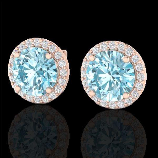 4 ctw Sky Blue Topaz & Halo VS/SI Diamond Micro Earrings 14k Rose Gold - REF-41K3Y