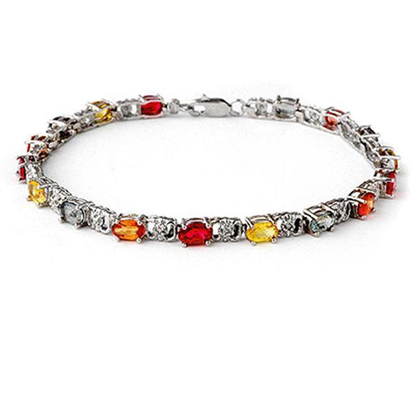 6.72 ctw Multi-Sapphire & Diamond Bracelet 14k White Gold - REF-80X9A
