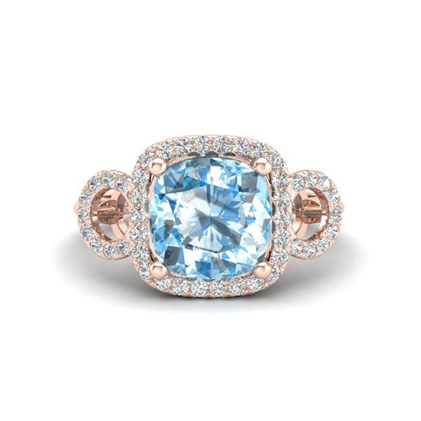 3.75 ctw TOPAZ & Micro VS/SI Diamond Certified Ring 14k Rose Gold - REF-42H6R