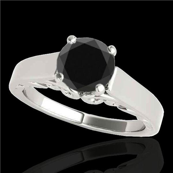 1 ctw Certified VS Black Diamond Solitaire Ring 10k White Gold - REF-33W4H