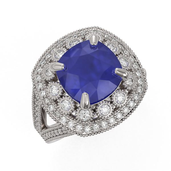 6.47 ctw Certified Sapphire & Diamond Victorian Ring 14K White Gold - REF-158R2K