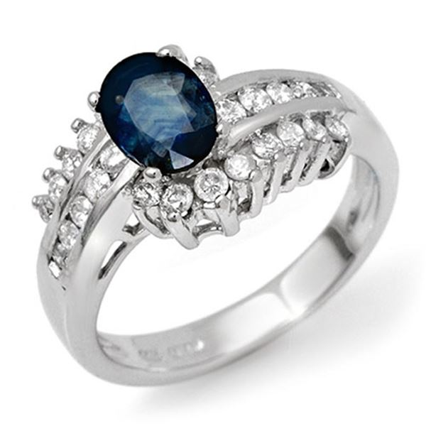1.75 ctw Blue Sapphire & Diamond Ring 18k White Gold - REF-89Y8X
