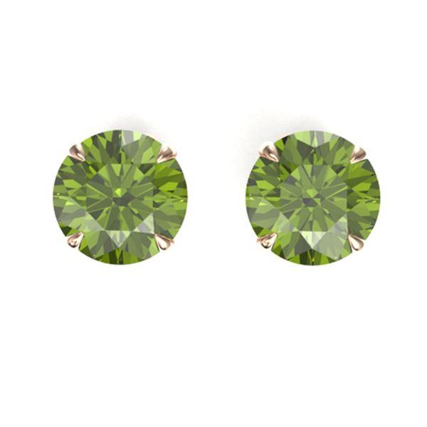 4 ctw Green Tourmaline Designer Solitaire Stud Earrings 14k Rose Gold - REF-31K2Y