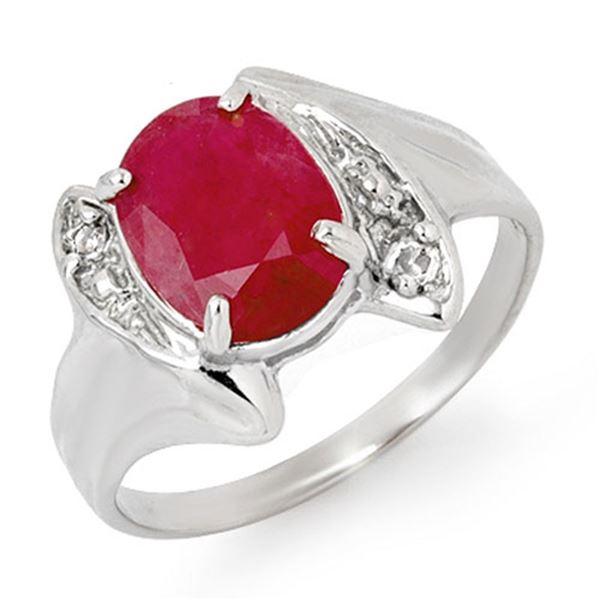 3.12 ctw Ruby & Diamond Ring 14k White Gold - REF-25A9N