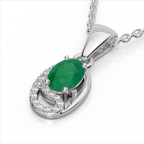 1.25 ctw Emerald & Micro Pave VS/SI Diamond Necklace 10k White Gold - REF-18M4G