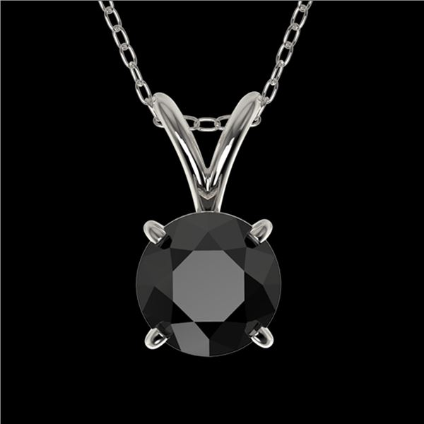 0.75 ctw Fancy Black Diamond Solitaire Necklace 10k White Gold - REF-18G4W
