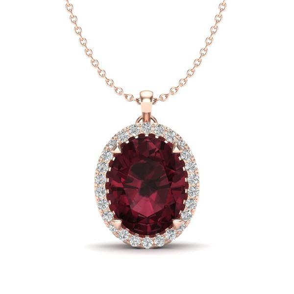 2.75 ctw Garnet & Micro VS/SI Diamond Halo Necklace 14k Rose Gold - REF-28Y9X