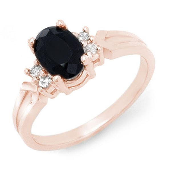 1.29 ctw Blue Sapphire & Diamond Ring 14k Rose Gold - REF-23Y9X