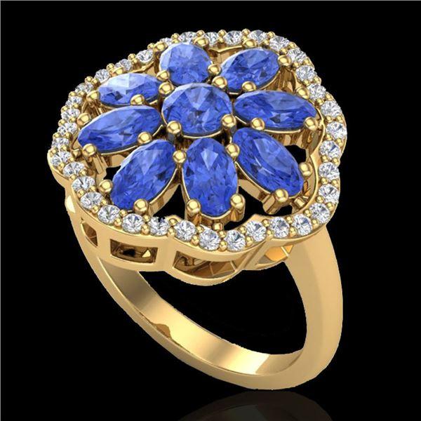 3 ctw Tanzanite & VS/SI Diamond Cluster Designer Ring 10k Yellow Gold - REF-52G3W