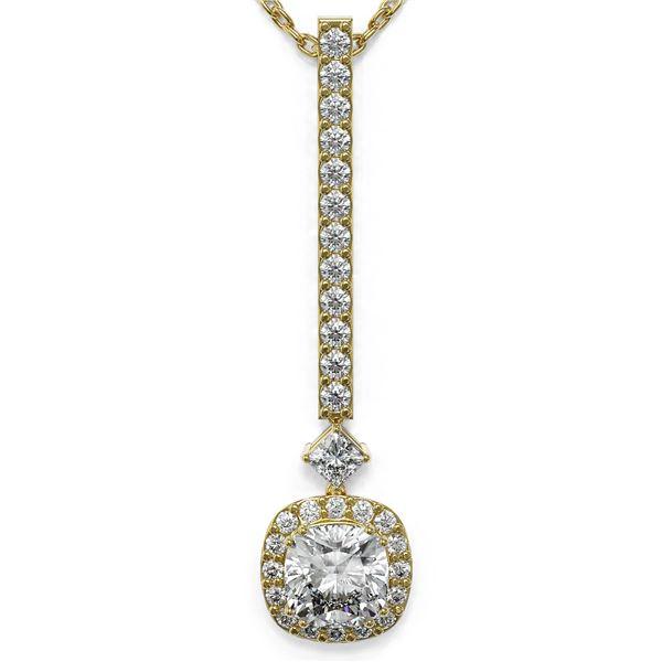 1.3 ctw Cushion Cut Diamond Designer Necklace 18K Yellow Gold - REF-156M8G