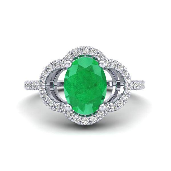 2 ctw Emerald & Micro Pave VS/SI Diamond Certified Ring 10k White Gold - REF-34H3R