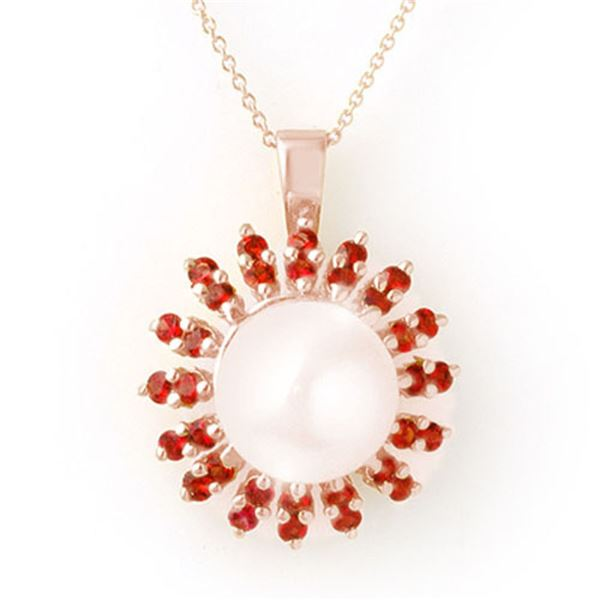 1.50 ctw Red Sapphire & Pearl Necklace 14k Rose Gold - REF-36G9W
