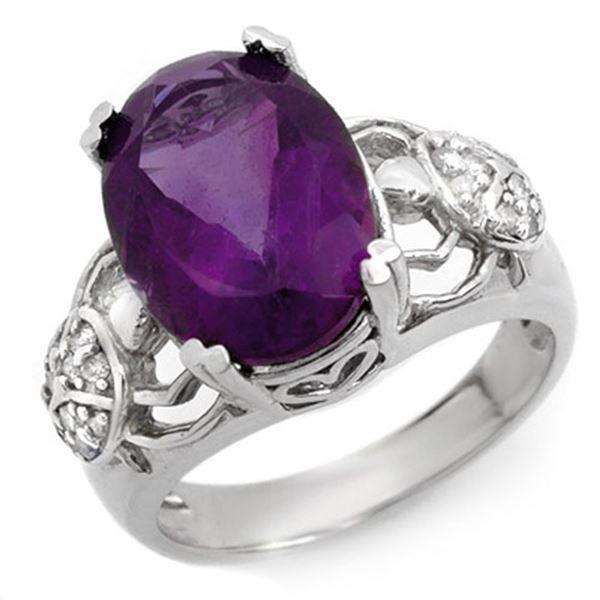 6.20 ctw Amethyst & Diamond Ring 10k White Gold - REF-40Y9X
