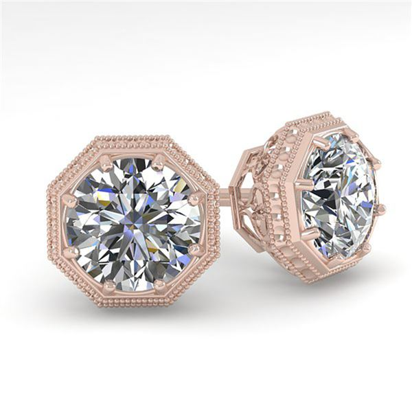 0.50 ctw VS/SI Diamond Stud Earrings Art Deco 18k Rose Gold - REF-53N5F