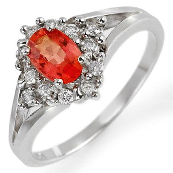0.95 ctw Orange Sapphire & Diamond Ring 10k White Gold - REF-25R8K